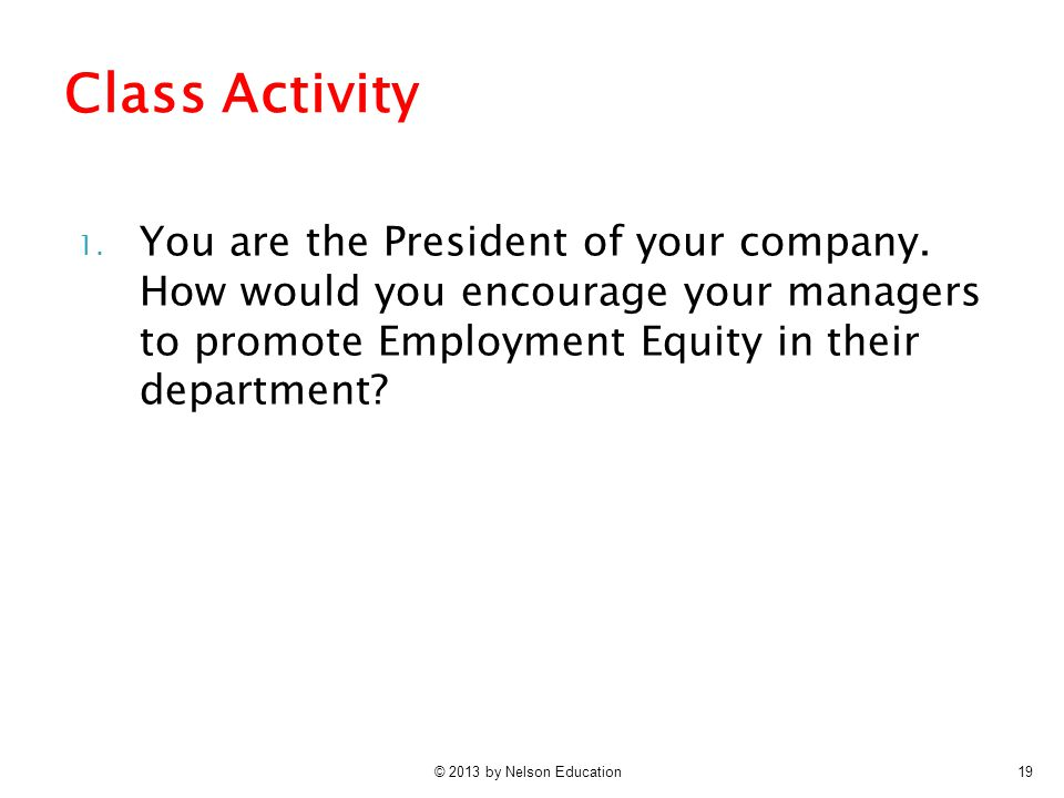 Class Activity You are the President of your company. How would you encourage your managers to promote Employment Equity in their department
