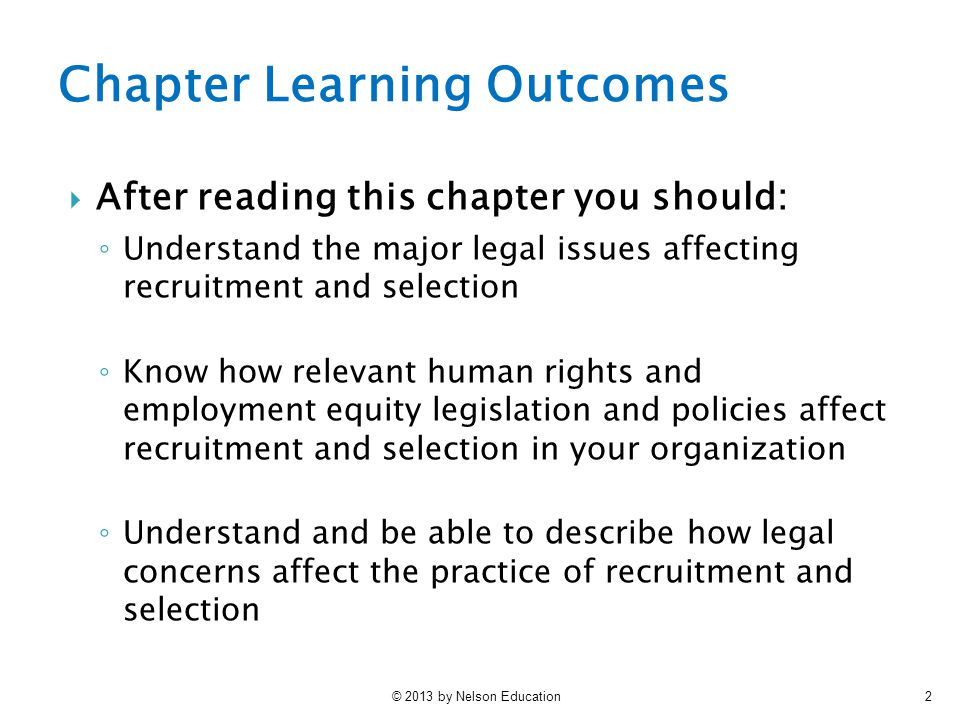Chapter Learning Outcomes