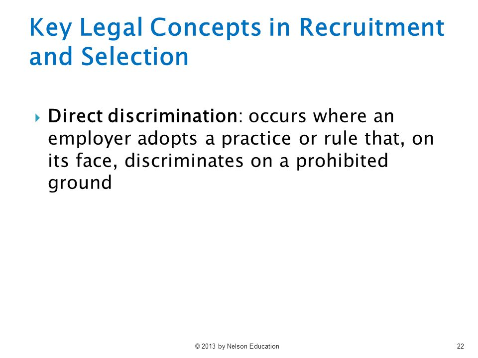 Key Legal Concepts in Recruitment and Selection