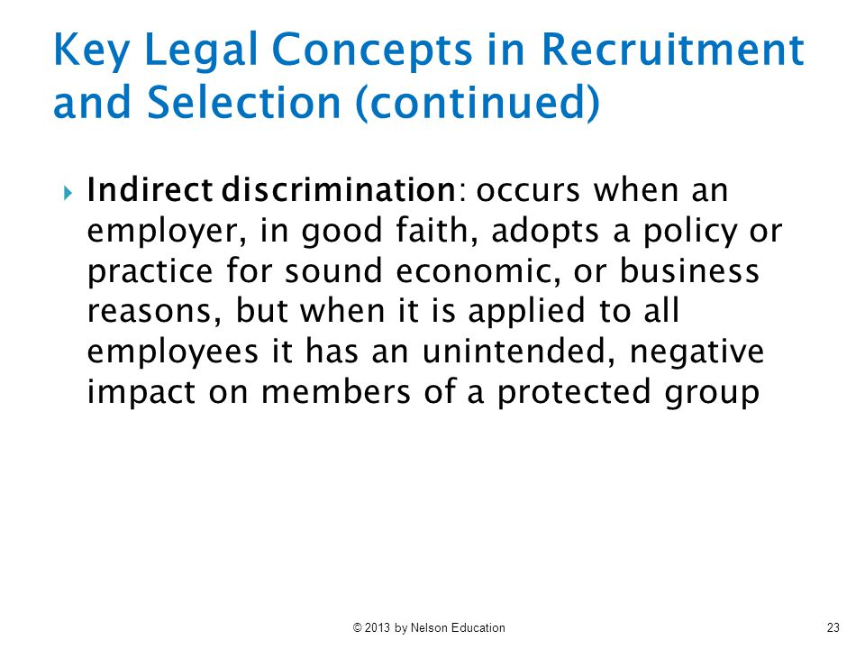 Key Legal Concepts in Recruitment and Selection (continued)