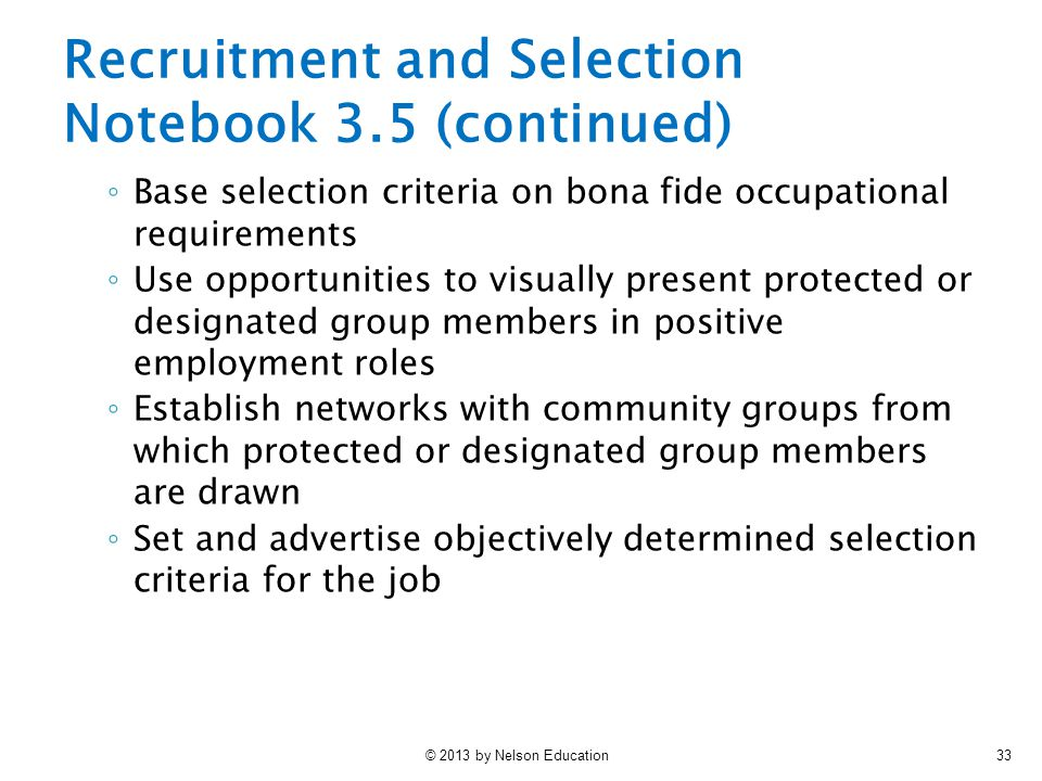 Recruitment and Selection Notebook 3.5 (continued)