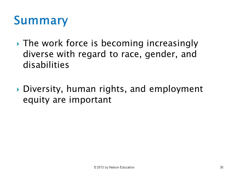 Summary The work force is becoming increasingly diverse with regard to race, gender, and disabilities.