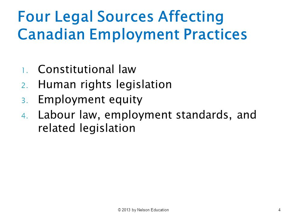 Four Legal Sources Affecting Canadian Employment Practices