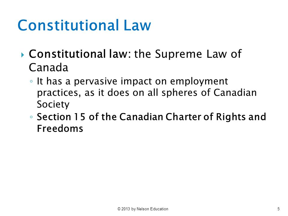 Constitutional Law Constitutional law: the Supreme Law of Canada