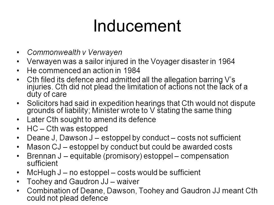Inducement Commonwealth v Verwayen