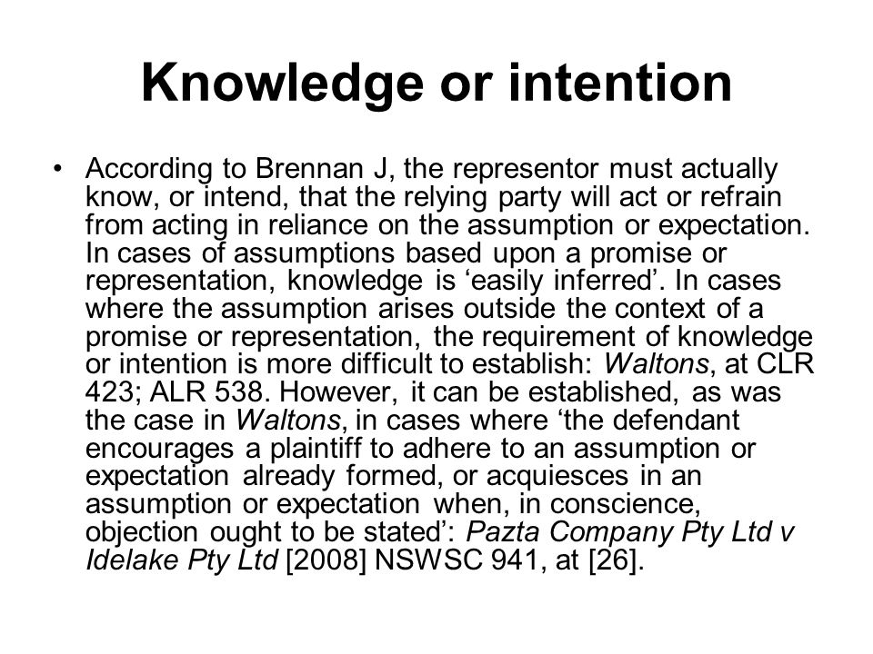 Knowledge or intention