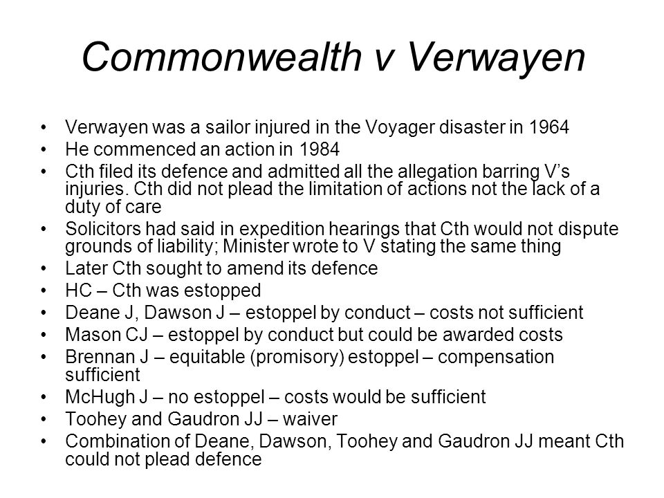 Commonwealth v Verwayen