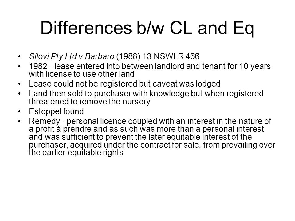Differences b/w CL and Eq
