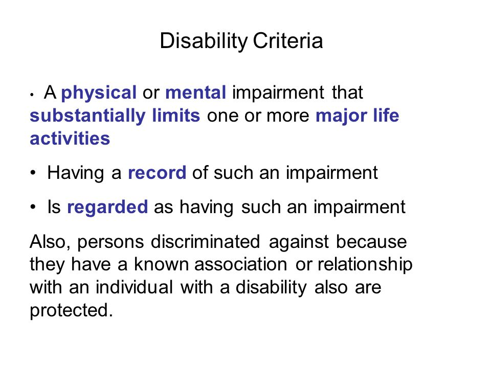 Disability Criteria Having a record of such an impairment