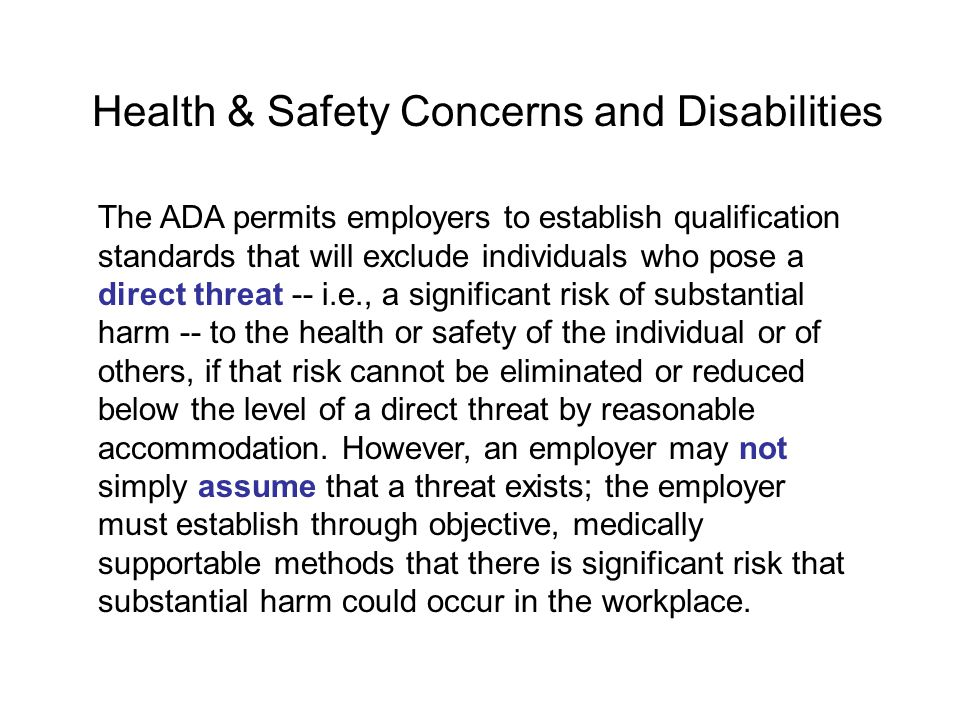 Health & Safety Concerns and Disabilities