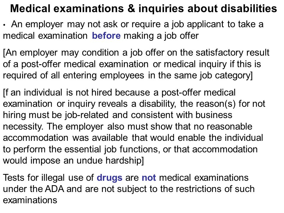 Medical examinations & inquiries about disabilities