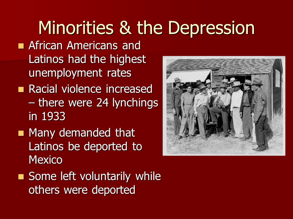 Minorities & the Depression