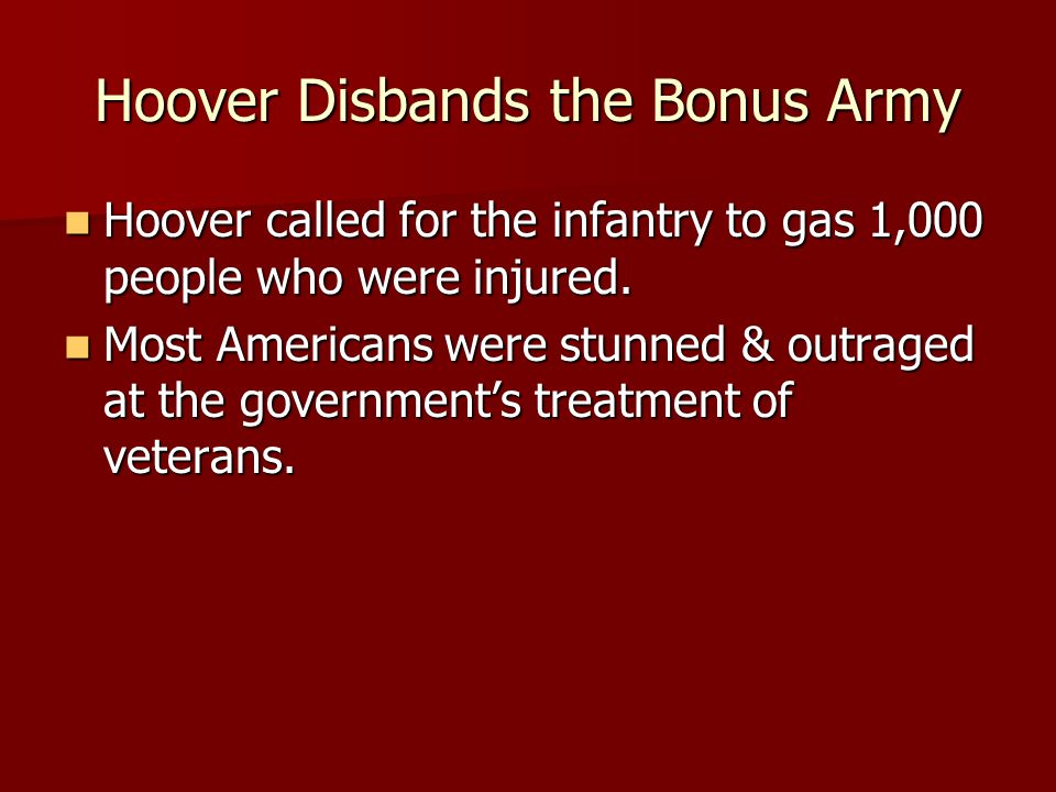 Hoover Disbands the Bonus Army