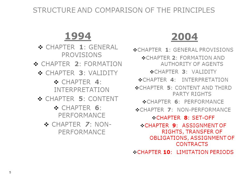 STRUCTURE AND COMPARISON OF THE PRINCIPLES