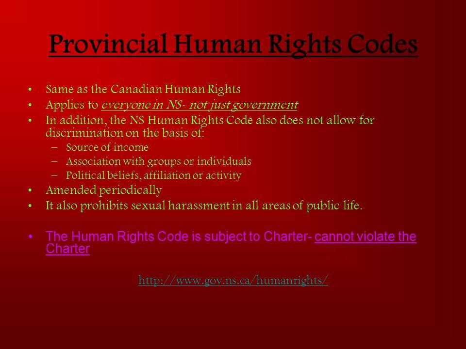 Provincial Human Rights Codes