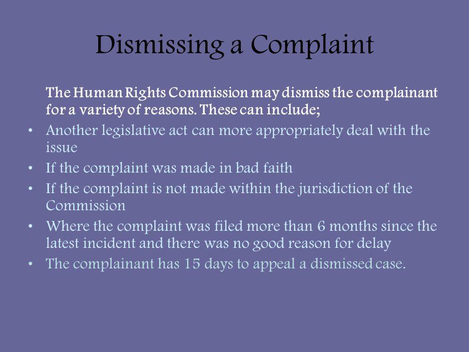 Dismissing a Complaint