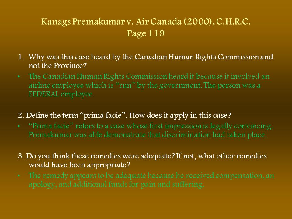Kanags Premakumar v. Air Canada (2000), C.H.R.C. Page 119