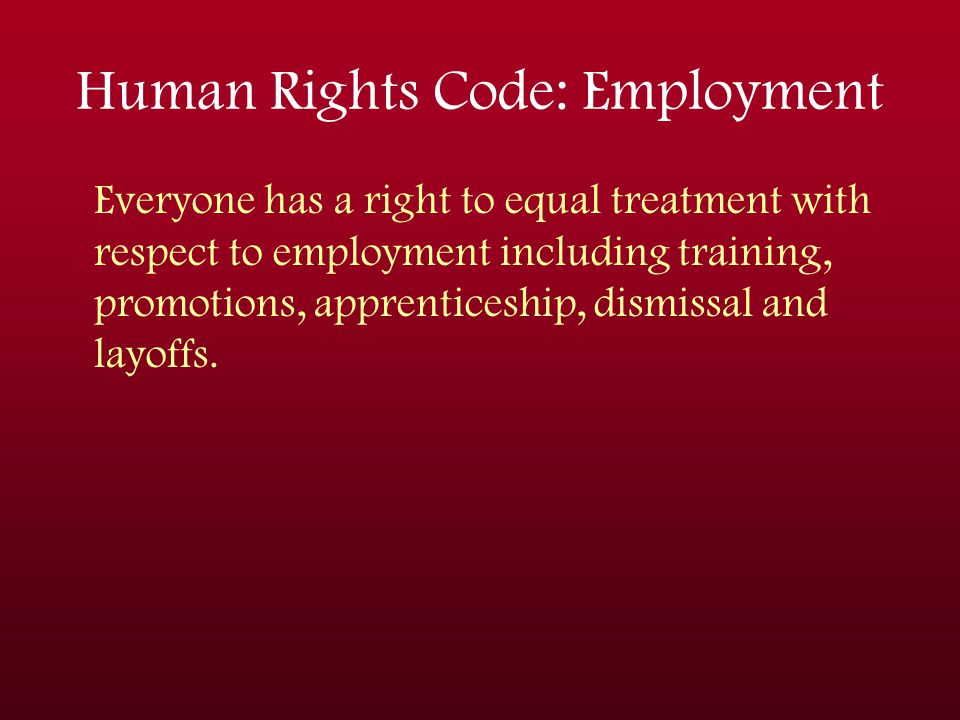 Human Rights Code: Employment