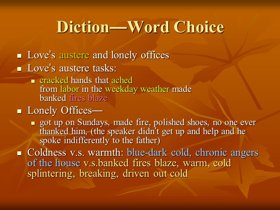 Diction—Word Choice Love's austere and lonely offices