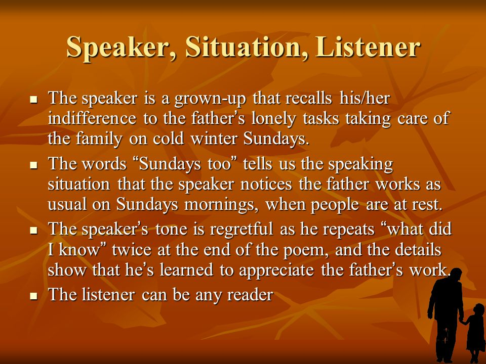 Speaker, Situation, Listener
