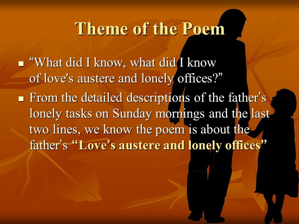 Theme of the Poem What did I know, what did I know of love s austere and lonely offices