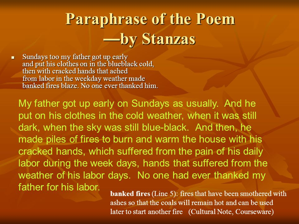 Paraphrase of the Poem —by Stanzas