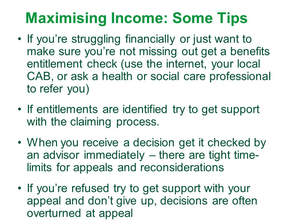 Maximising Income: Some Tips