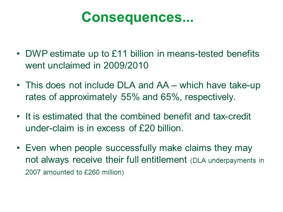 Consequences... DWP estimate up to £11 billion in means-tested benefits went unclaimed in 2009/2010.