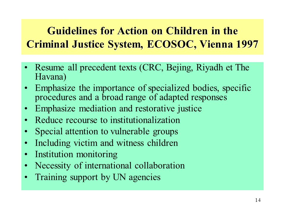 Guidelines for Action on Children in the Criminal Justice System, ECOSOC, Vienna 1997