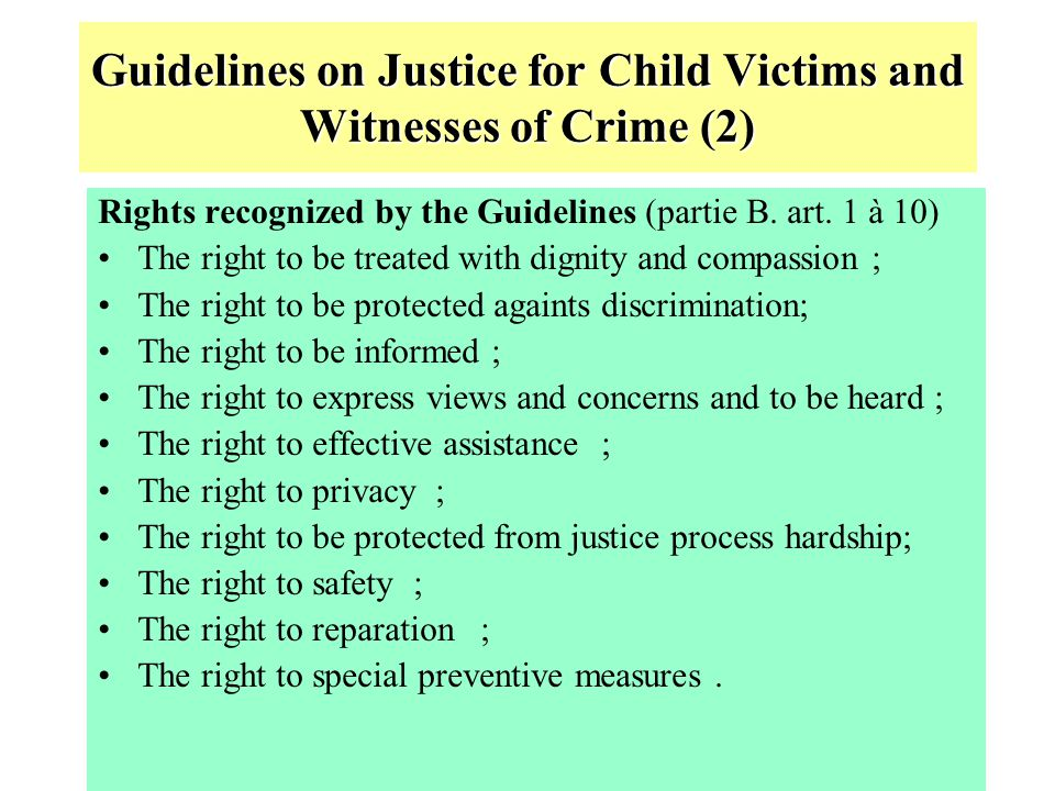 Guidelines on Justice for Child Victims and Witnesses of Crime (2)