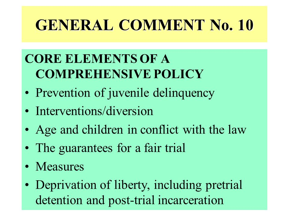 GENERAL COMMENT No. 10 CORE ELEMENTS OF A COMPREHENSIVE POLICY