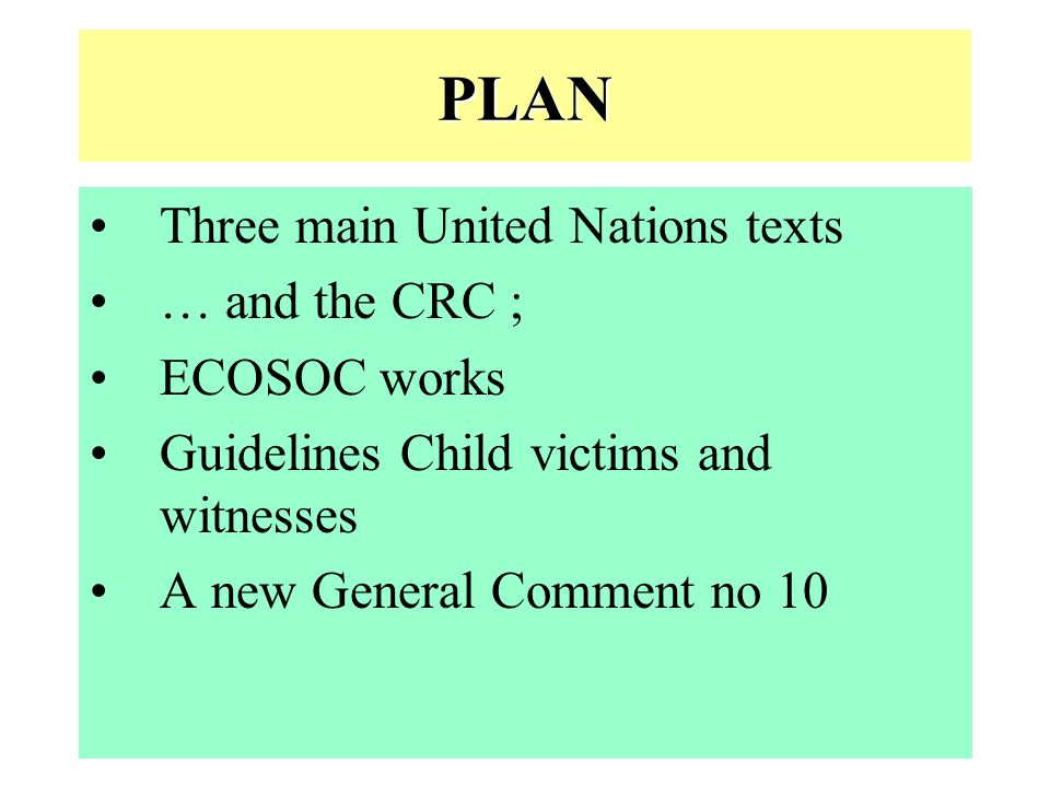PLAN Three main United Nations texts … and the CRC ; ECOSOC works