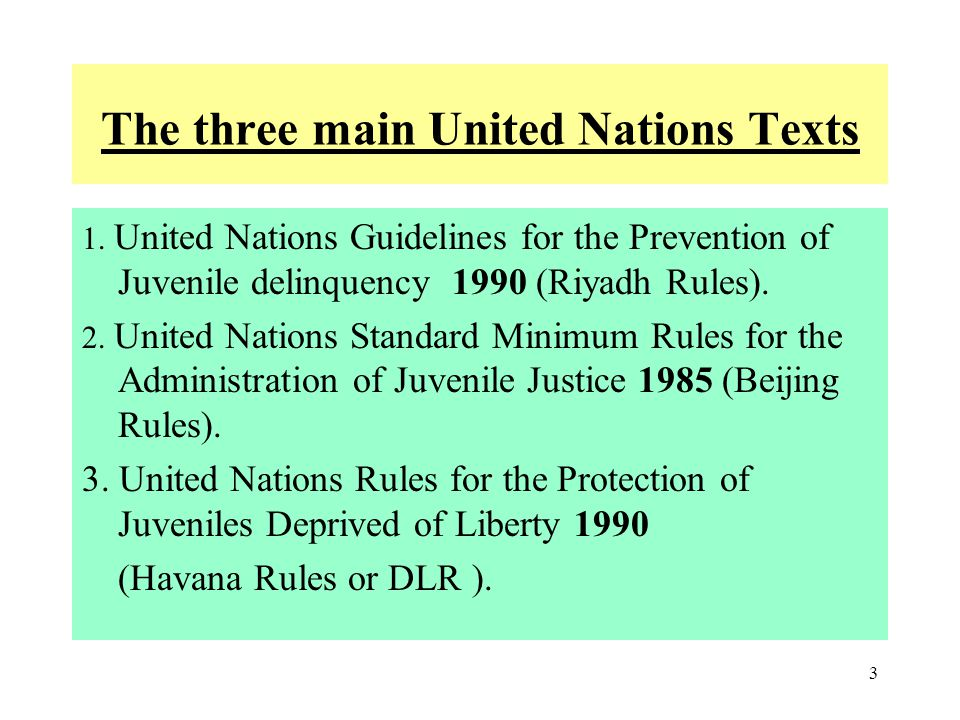 The three main United Nations Texts