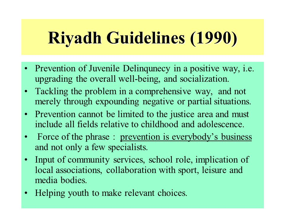 Riyadh Guidelines (1990) Prevention of Juvenile Delinqunecy in a positive way, i.e. upgrading the overall well-being, and socialization.