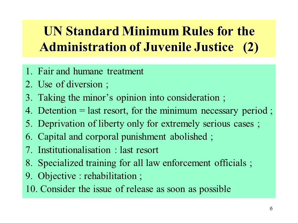 UN Standard Minimum Rules for the Administration of Juvenile Justice (2)