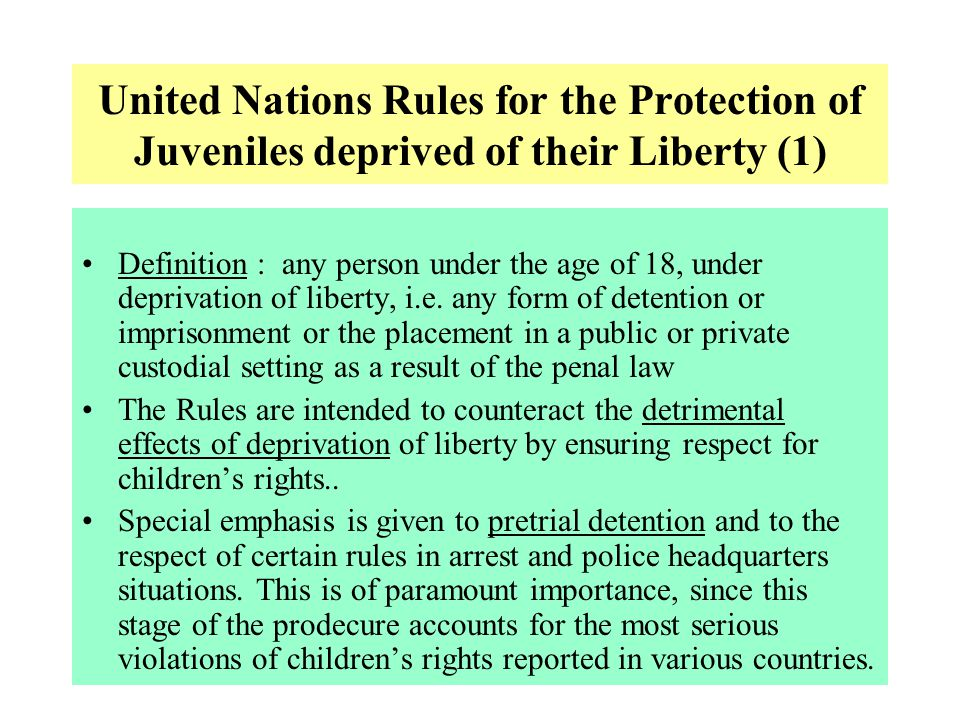 United Nations Rules for the Protection of Juveniles deprived of their Liberty (1)