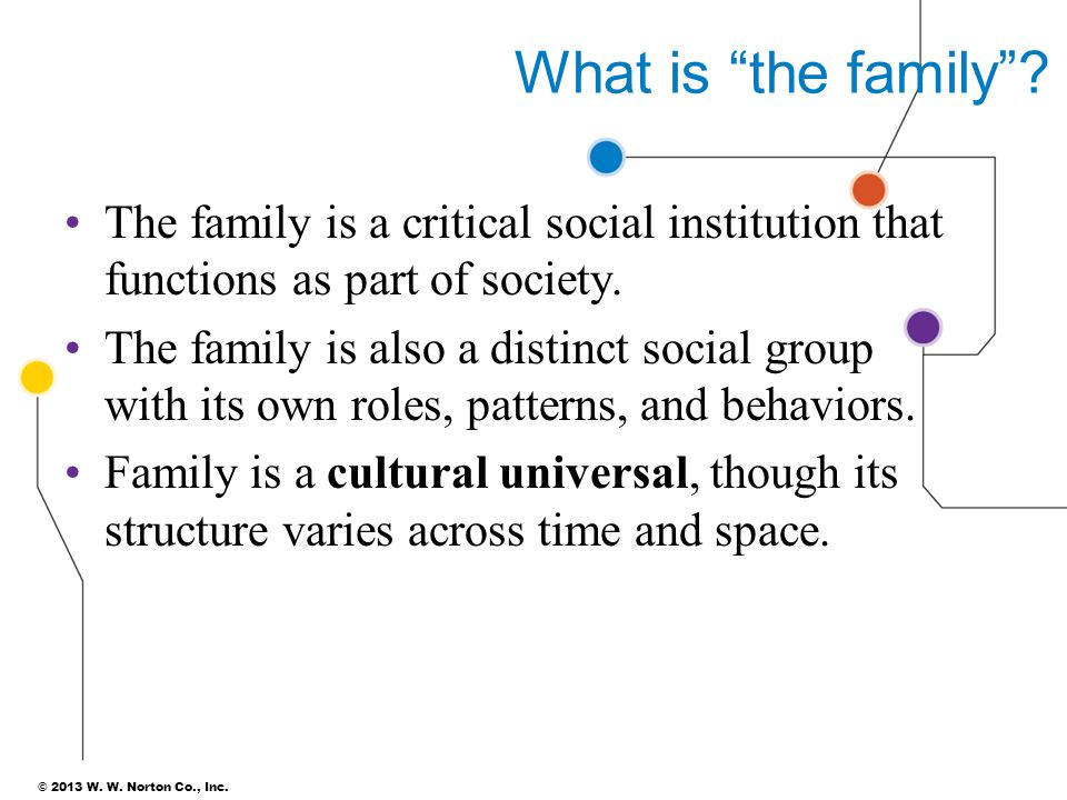 What is the family The family is a critical social institution that functions as part of society.