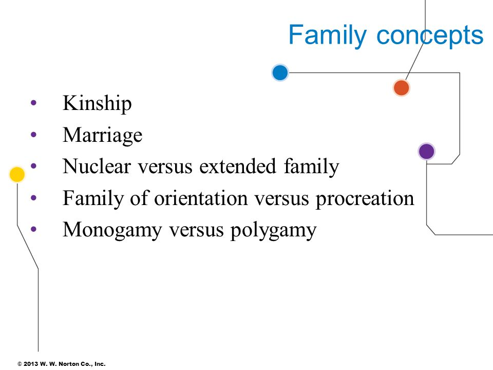 Family concepts Kinship Marriage Nuclear versus extended family