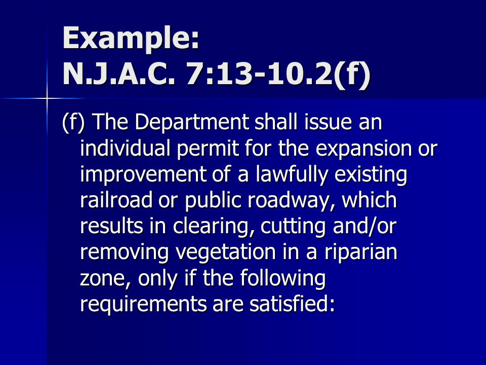 Example: N.J.A.C. 7:13-10.2(f)