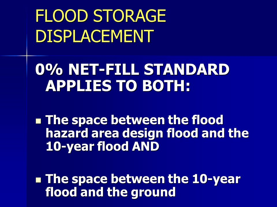 FLOOD STORAGE DISPLACEMENT
