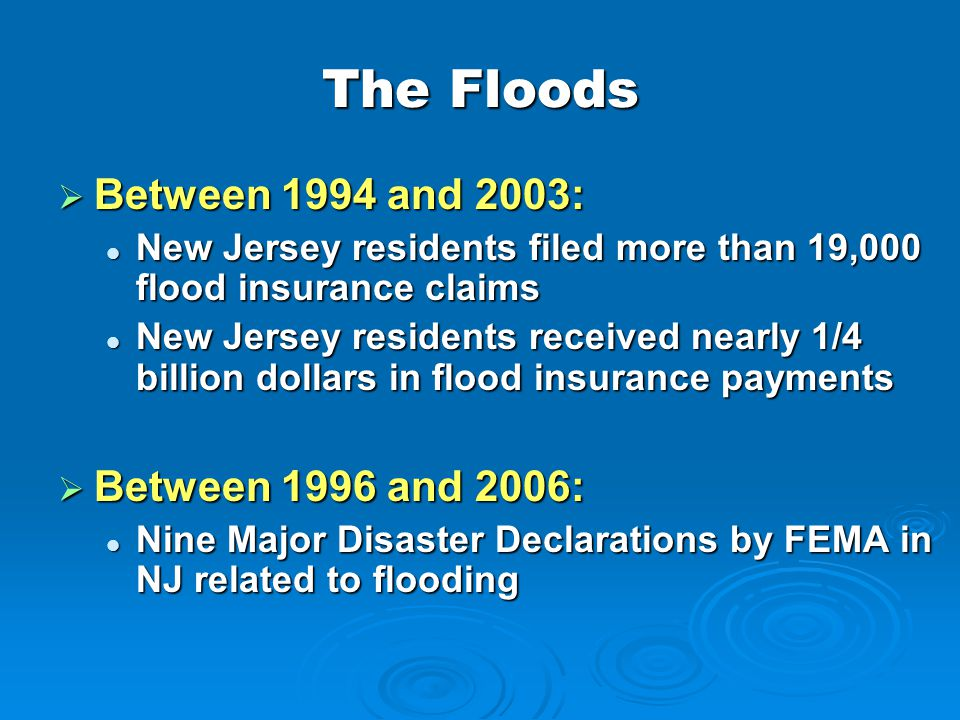 The Floods Between 1994 and 2003: Between 1996 and 2006: