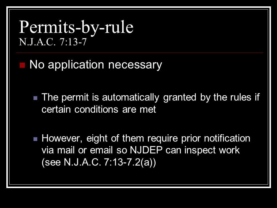 Permits-by-rule N.J.A.C. 7:13-7
