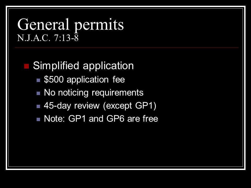 General permits N.J.A.C. 7:13-8