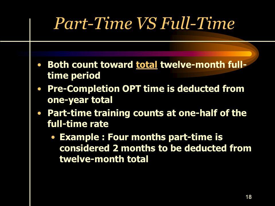 Part-Time VS Full-Time