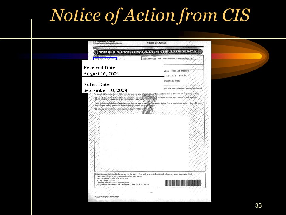 Notice of Action from CIS
