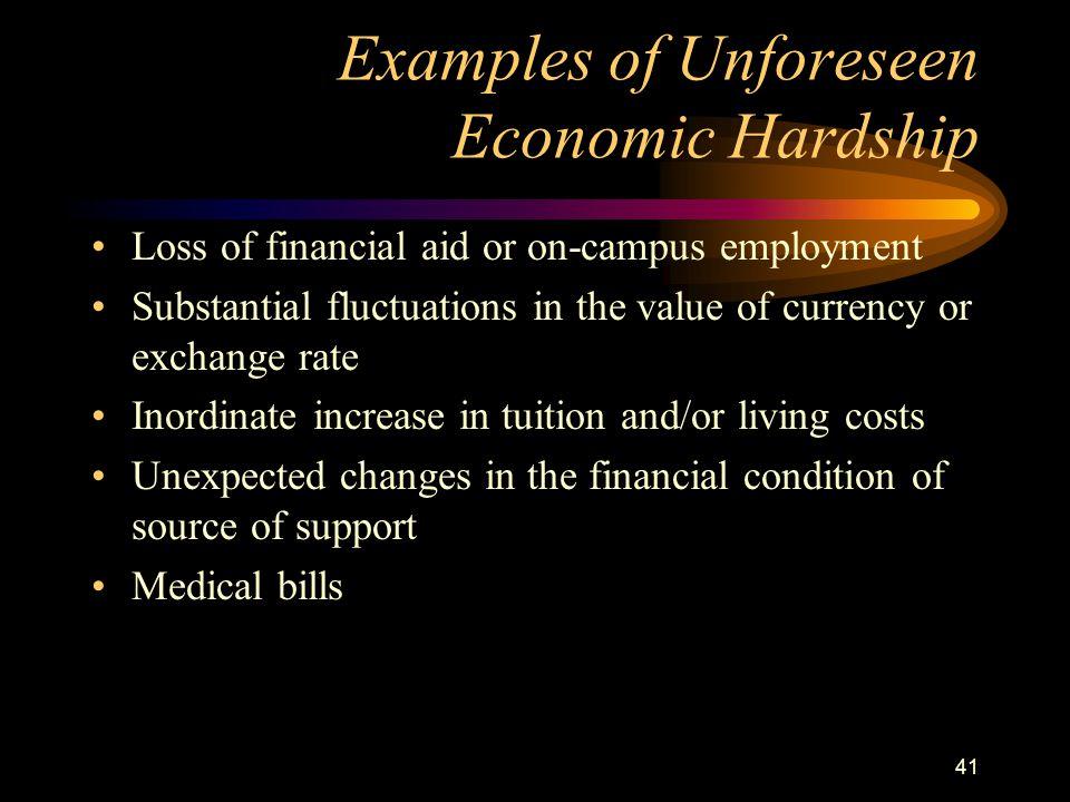 Examples of Unforeseen Economic Hardship
