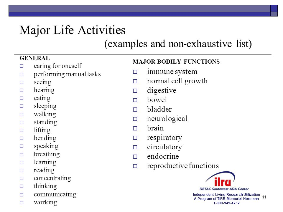 Major Life Activities (examples and non-exhaustive list)