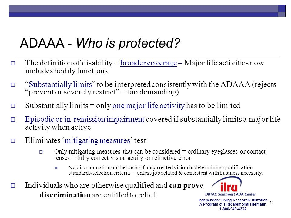 ADAAA - Who is protected