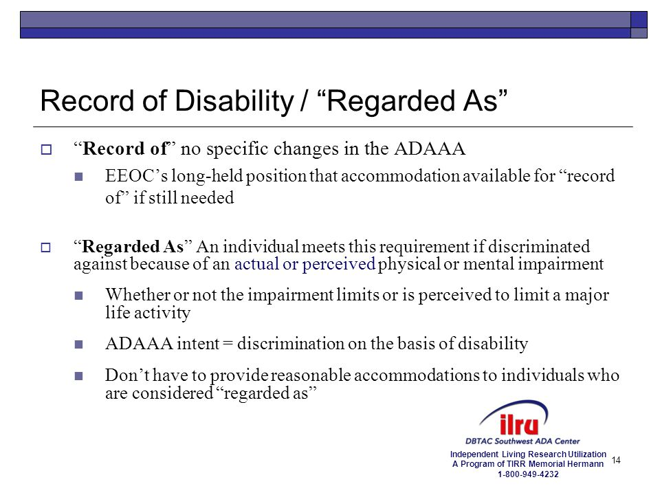 Record of Disability / Regarded As