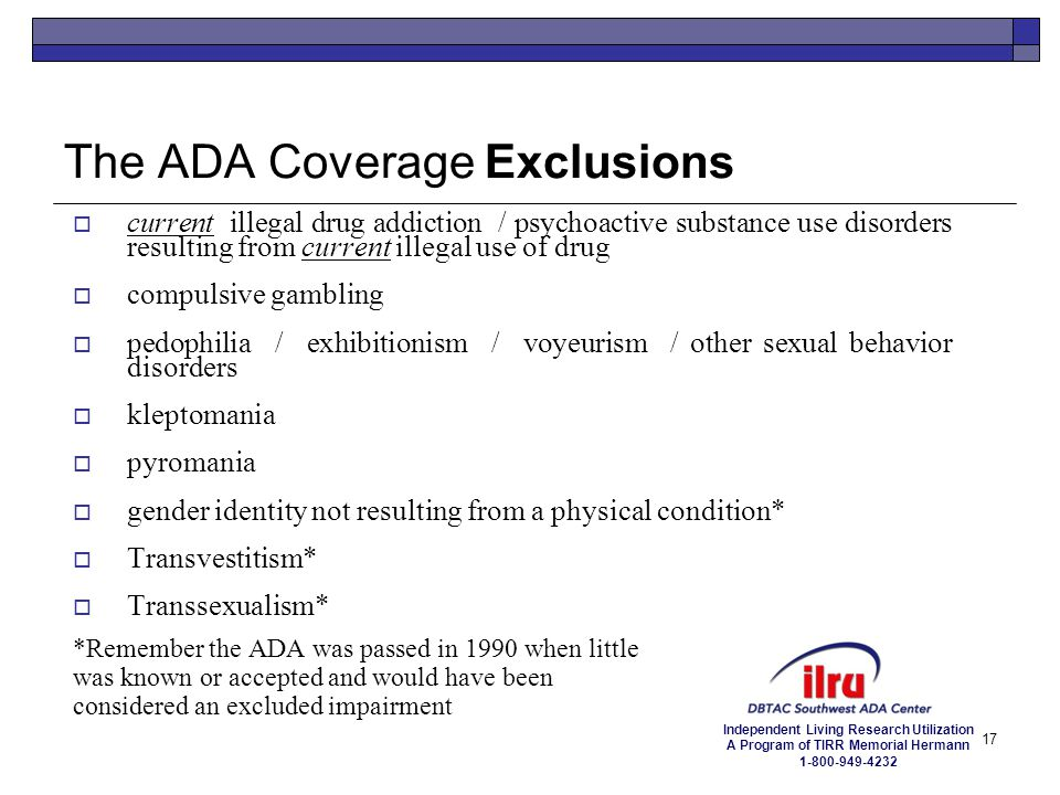 The ADA Coverage Exclusions
